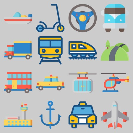 Icon set about Transportation with keywords taxi, cable car, van, steering wheel, boat and airport Illustration