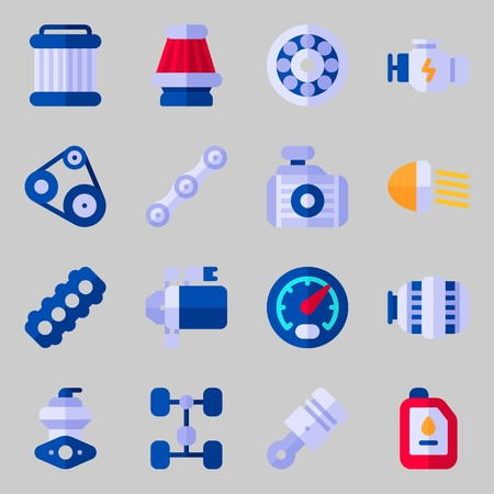 Icons set about Car Engine. with wheel, starter and pulley
