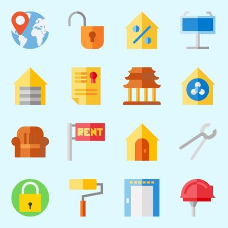 icons set about Real Assets. with religious, padlock, worldwide, percentage, security system and maps and flags