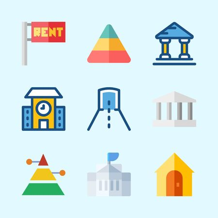 Icons about Construction with tunnel, for rent, white house, school, pyramid and real estate
