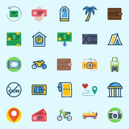 icons set about Travel. with placeholder, toilet paper, temple, smartphone, parking and tent