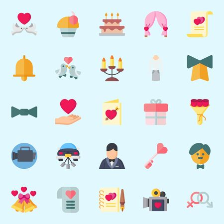 icons set about Wedding. with wedding car, suit, wedding cake, wedding arch, gift and genders