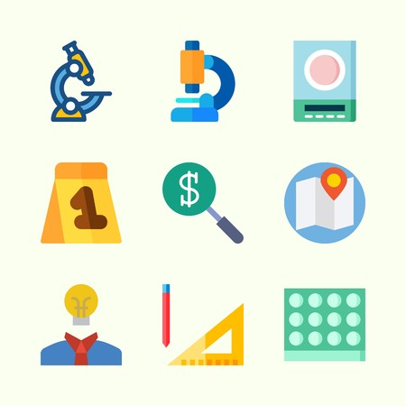 Icons about Inspiration with search, map, microscope, evidence, idea and lab