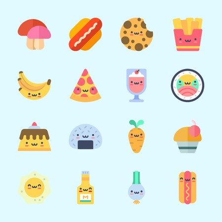 Icons about Food with cupcake, onigiri, bananas, mushroom, pudding and fries