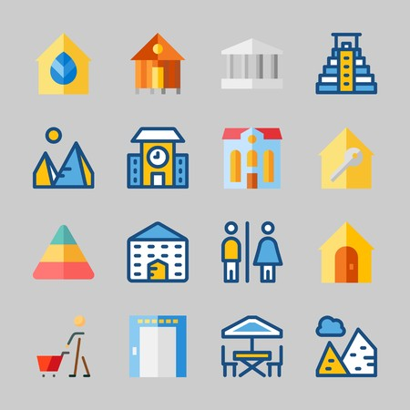 Icons about Construction with shopping, rent, pyramids, pyramid, elevator and real estate