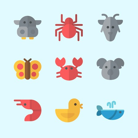 Icons about Animals with spider, prawn, chicken, hippopatamus, goat and whale Illustration