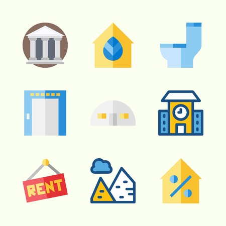 Icons about Construction with percentage, pyramids, wc, real estate, school and elevator 向量圖像