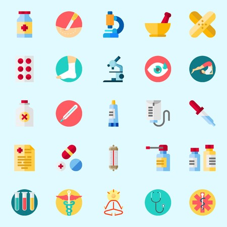Icons about Medical with patch, mortar, medicine, stethoscope, pill and pills Illustration