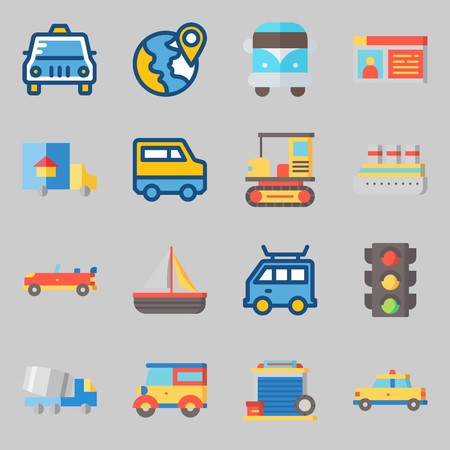 Icons set about Transportation. with location, car and truck Vectores
