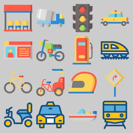 Icon set about Transportation with keywords driving license, helmet, bicycle, gas station, traffic light and train