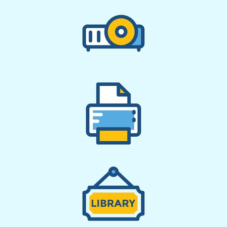 Icons about School And Education with printer, library and projector