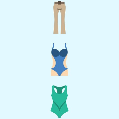 Icons about Women Clothes with trousers and swimsuit