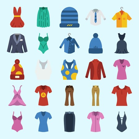icons set about Women Clothes. with swimsuit, skirt, shirt, winter hat, pants and dress