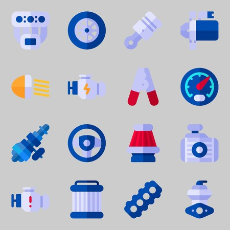 Icons set about Car Engine. with distribution, starter and engine