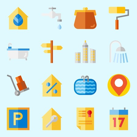 icons set about Real Assets. with skyline, real estate, wheelbarrow, location, percentage and seventeen