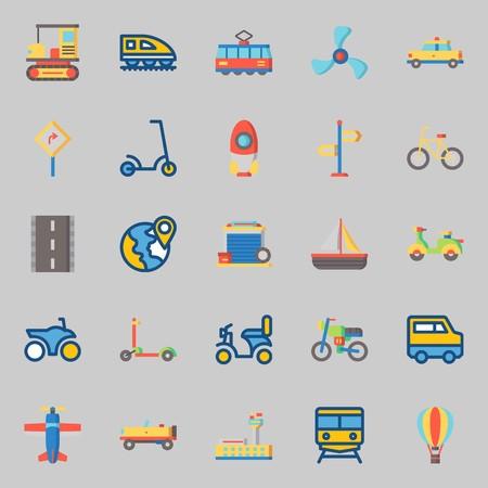 conjunto de iconos sobre transporte. con cohete, canto de dirección, canto de carretera, furgoneta, bicicleta y scooter