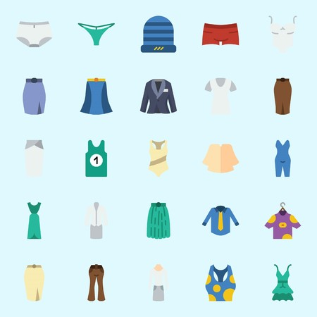 icons set about Women Clothes. with sleeveless, tank top, pijamas, panties, suit and winter hat 일러스트