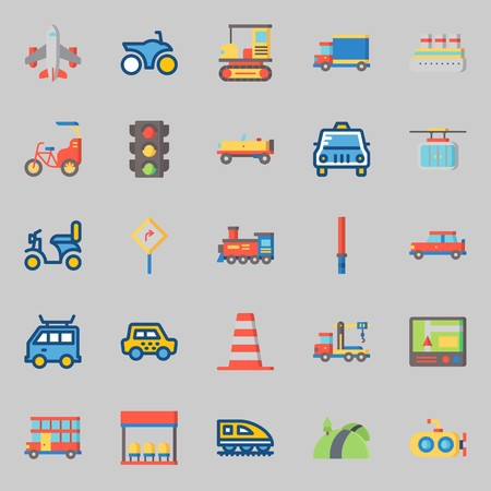 icons set about Transportation. with cable car, crane, cruise ship, truck, bus stop and gps