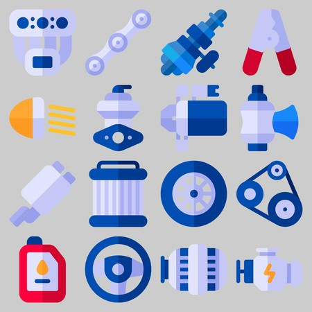 Icon set about Car Engine with keywords distribution, pulley, pilers, manifold, motor and exhaust pipe Illustration