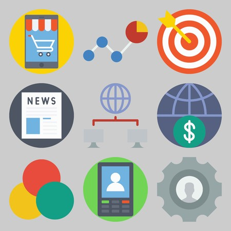 Icon set about Marketing with keywords newspaper, smartphone, line chart, settings, networking and rgb