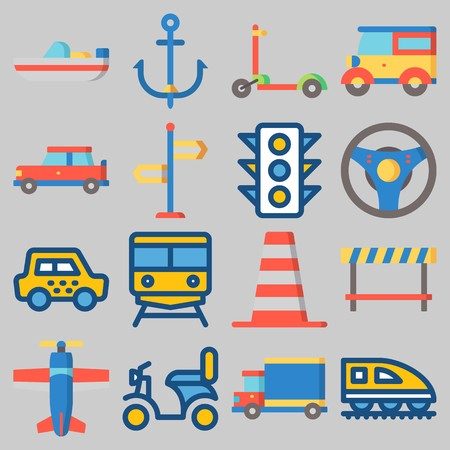 Icon set about Transportation with keywords traffic light, direction sing, plane, boat, cone and train