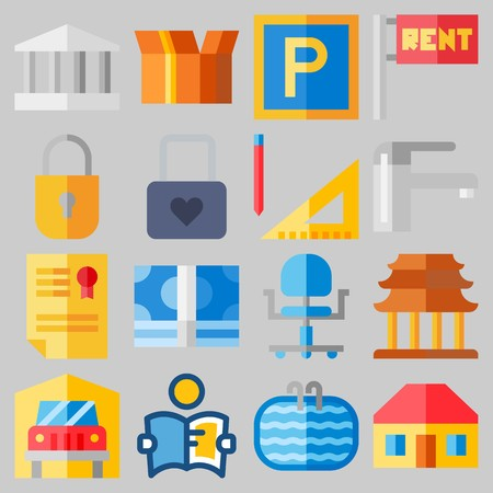 Icon set about Real Assets with keywords title, padlock, monumental, religious, roof and wheel chair Иллюстрация