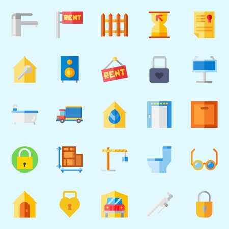 icons set about Real Assets. with reading glasses, picket, wc, single, winch and sand clock Illustration