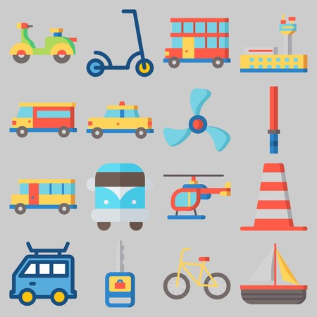 Icon set about Transportation with keywords airport, cone, bicycle, double decker, sail boat and helicopter Ilustração