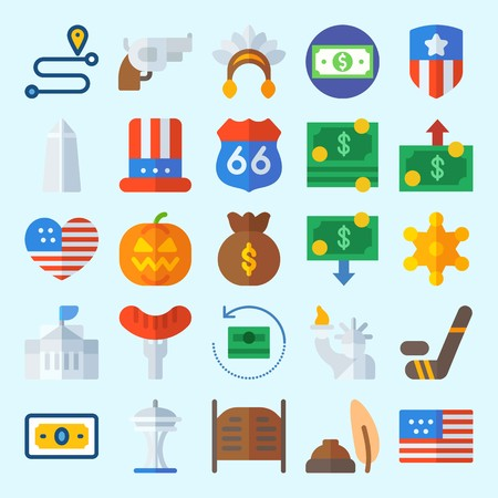 icons set about United States. with money bag, money, white house, pumpkin, usa and quill Illustration