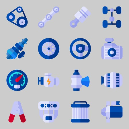 icons set about Car Engine. with chassis, belt, distribution, pulley, wheel and valve Illustration