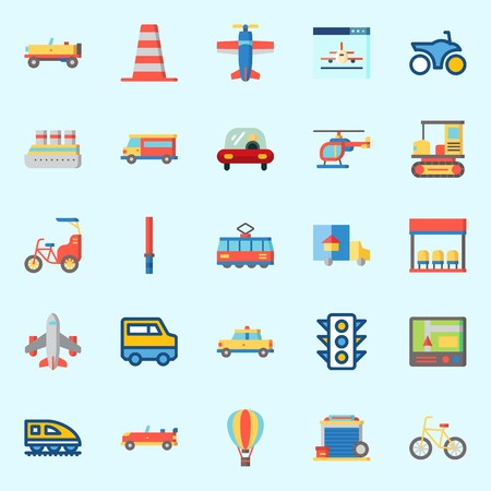 Icons set about Transportation with truck, motorbike, airplane, helicopter, van and bus stop