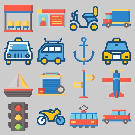 Icon set about Transportation with keywords car, bus stop, sail boat, driving license, motorbike and truck