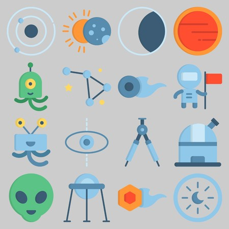 Icon set about Universe with keywords moon, astrology, eclipse, observatory, alien and orbit Illustration