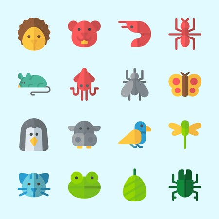Icons about Animals with mosquito, bird, squid, beetle, prawn and ant