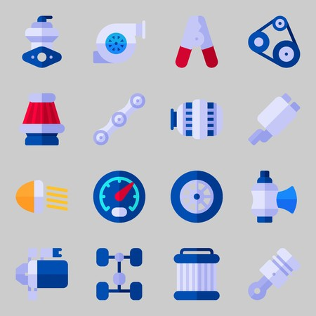 icons set about Car Engine. with pulley, piston, starter, valve, car lights and belt Illustration