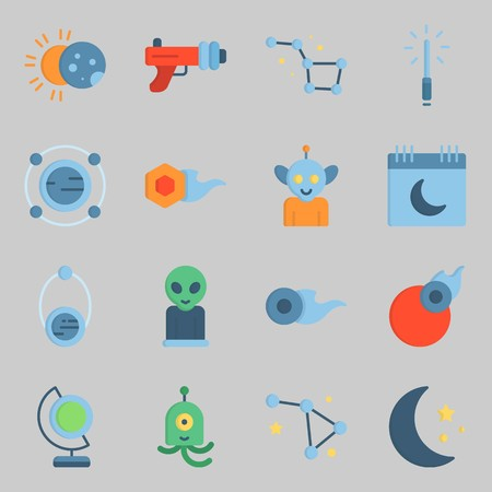 Icons set about Universe. with moon, earth glope and lightsaber Illustration