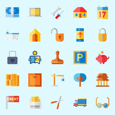 icons set about Real Assets. with relax, up, seventeen, roof, printer and security system
