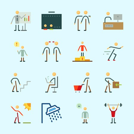 Icons about Human with trust, whiteboard, sportsman, television, bodybuilder and tv Stock Illustratie
