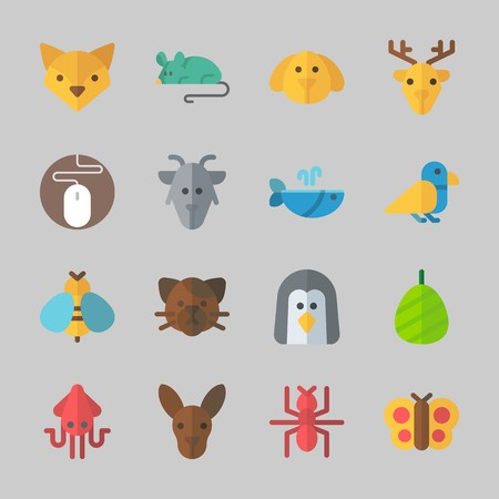 Icons about Animals with deer, whale, mouse, goat, wasp and dog Çizim