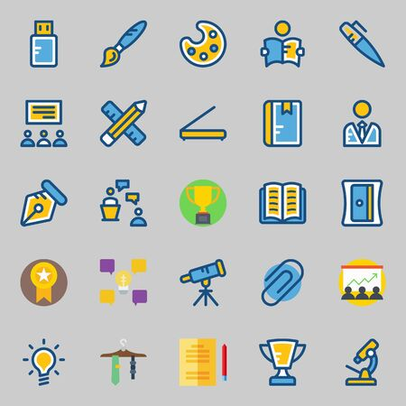 icons set about School And Education. with open book, tie, presentation, user, scanner and lecture Illustration