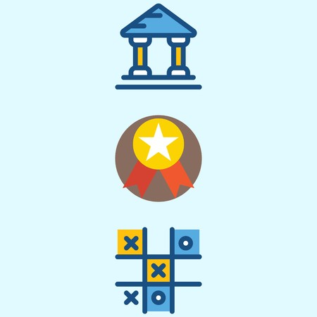 Icons about School And Education with tic tac toe, museum and medal