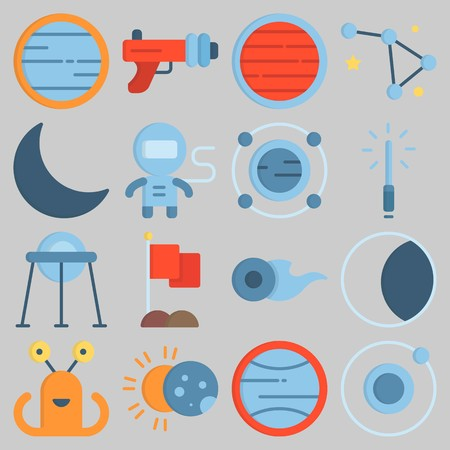 Icon set about Universe with keywords uran, comet, capsule, orbit, blaster and neptune Illustration