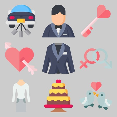 Icon set about Wedding with keywords genders, suit, cupid, wedding cake, love birds and groom