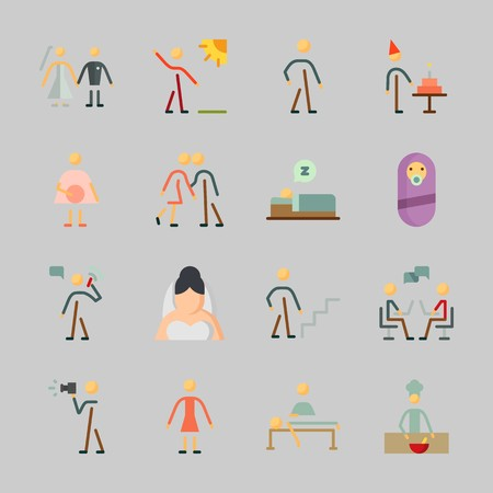 Icons about Human with kissing, relaxing, female, dialogue, walker and chief Illustration