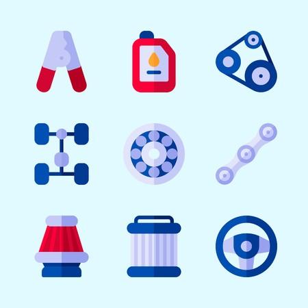 Pictogrammen over motor van een auto met wiel, pilers, luchtfilter, sreering wiel, riem en ketting