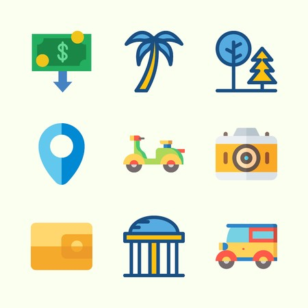 Icons about Travel with scooter, wallet, tree, temple, photo camera and money Illustration