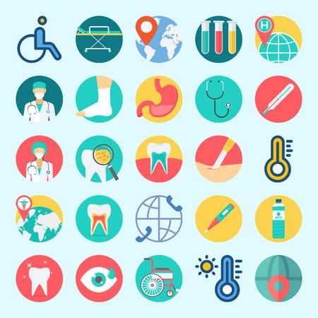 Icons set about Medical with surgery, visibility, surgeon, thermometer, test tubes and water Illustration