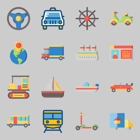 Icons set about Transportation. with driving license, sport  car and truck Illustration