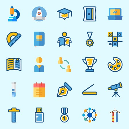 Icons about School And Education with tie, tic tac toe, pendrive, test tube, ruler and medal Çizim