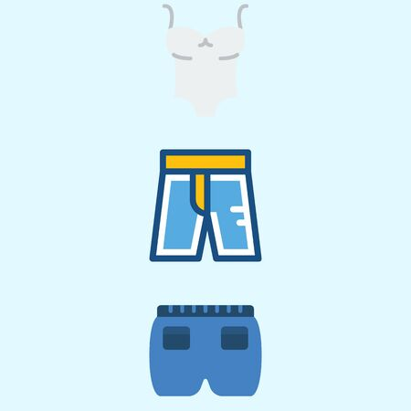Icons about man clothes with sleeveless and short. 矢量图像